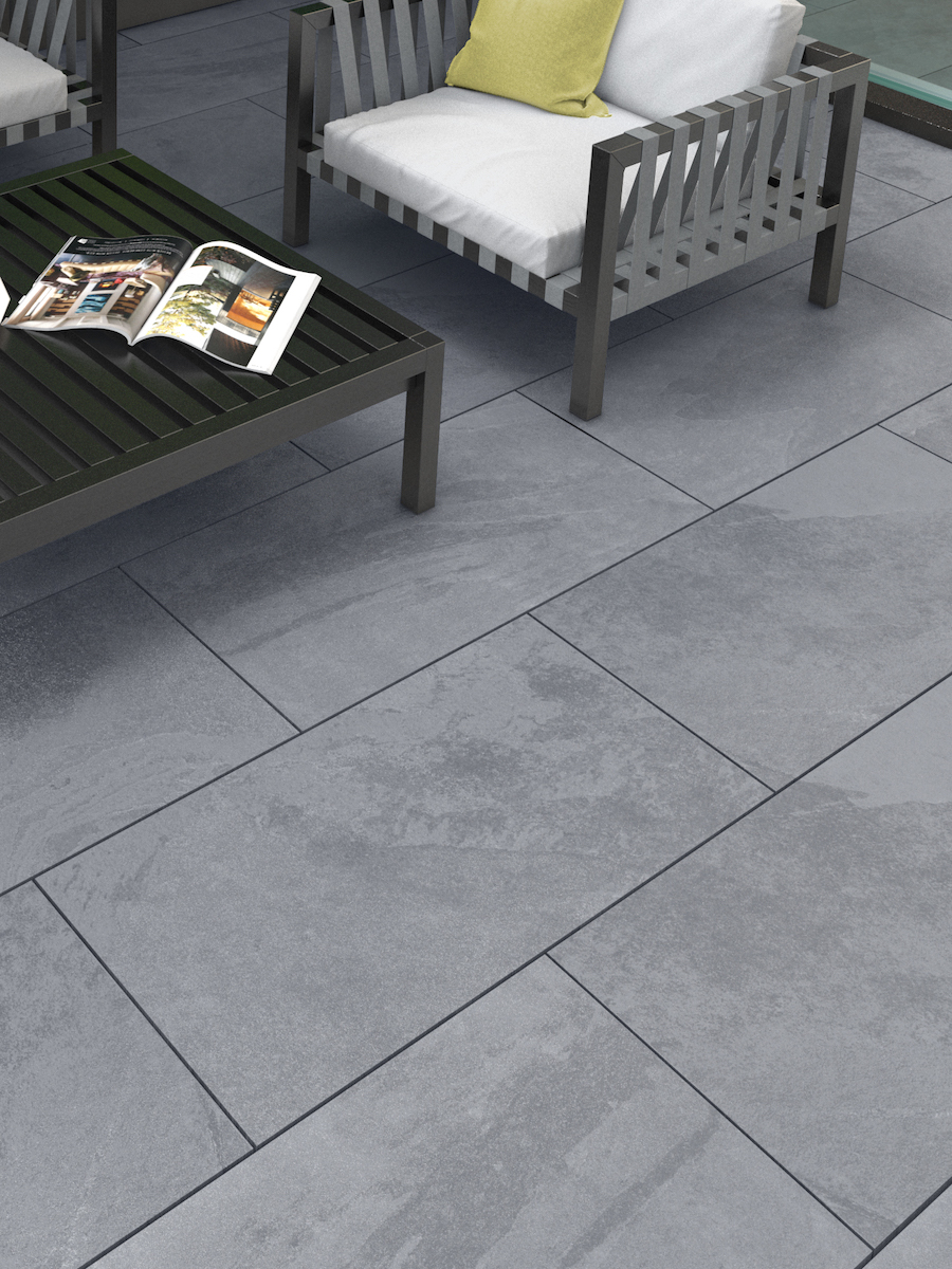 Victoria Grey Slate Virtue Vitrified Porcelain Paving slabs - 900x600 Pack