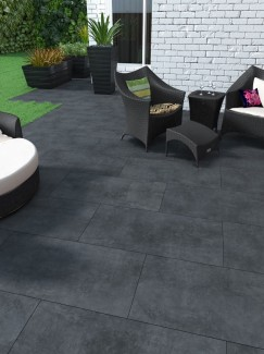 Eclipse Black King Size Vitrified Porcelain Paving Slabs - 1200x600 Pack