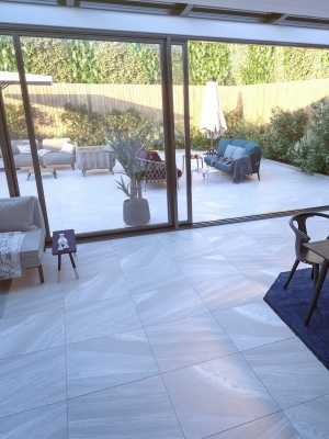 Bianco Slate Effect Outdoor Porcelain Paving Slabs - 600x600 Pack