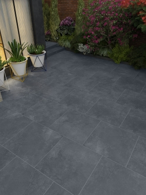 Plato Anthracite Virtue Vitrified Porcelain Paving Slabs - 600x600 Pack