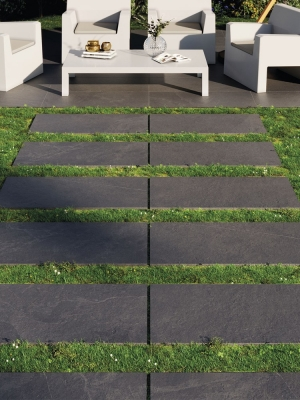 Bavaria Black Slate Effect Outdoor Porcelain Paving Slabs - 1200x600 Pack