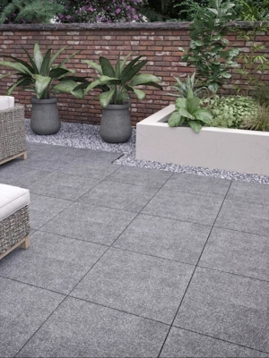 Blue Black Granite Effect Outdoor Porcelain Paving Slabs - 600x600 Pack