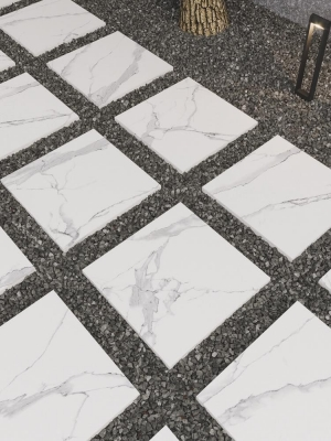 Italian Calacatta Marble Effect Outdoor Porcelain Paving Slabs - 600x600 Pack