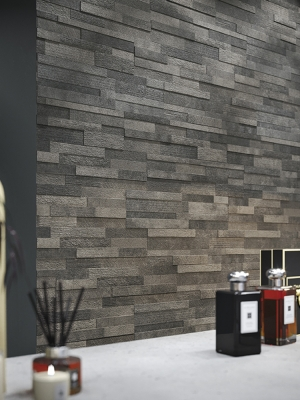 Dark Grey Quartz Split Face Effect Outdoor Porcelain Wall Tiles - 150x610x7-11(mm)