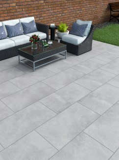 Plato Grey Virtue Vitrified Porcelain Paving Slabs - 1200x600 Pack