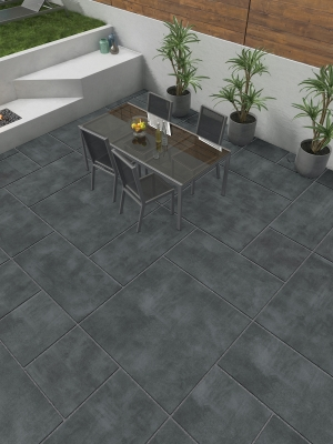 Eclipse Dark Grey Virtue Vitrified Porcelain Paving Slabs - Mix Size Patio Pack