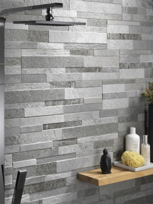 Grey Slate Split Face Effect Outdoor Porcelain Wall Tiles - 150x610x7-11(mm)
