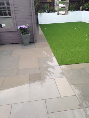 Raj Green Smooth & Sawn Sandstone Paving - Patio Pack