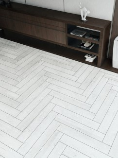 Lata Silver Wood Effect Herringbone Floor & Wall Tiles - 900x150(mm)