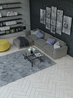 Artist Light Wood Herringbone Floor & Wall Tiles - 600x150(mm)