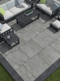 Pietra Di Vals Grey Outdoor Porcelain Paving slabs - 600x600 Pack