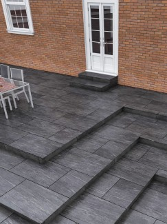 Pietra Nero Virtue Vitrified Porcelain Paving slabs - 900x600 Pack