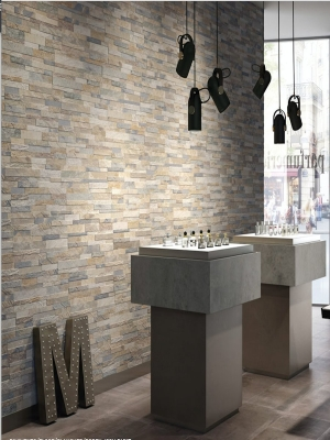 Beige Slate Split Face Effect Outdoor Porcelain Wall Tiles - 150x610x7-11(mm)