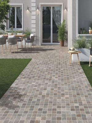 Verde Cobble Effect Outdoor Porcelain Paving Slabs- 600x600