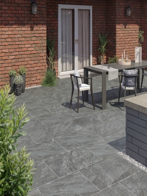 Pietra Nero Vitrified Porcelain Paving Slabs