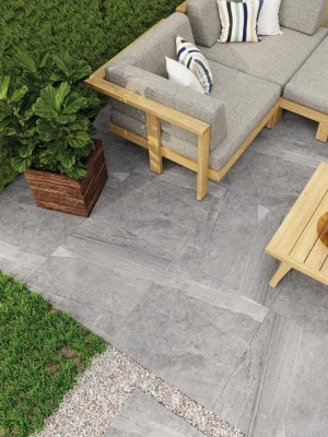 Warm Grey Virtue Outdoor Porcelain Paving Slabs - 600x600 Pack