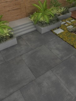 Volcano Dark Grey XXL Vitrified Porcelain Paving Slabs - 1000x1000 Pack
