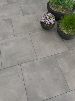 Volcano Grey XXL Vitrified Porcelain Paving Slabs - 1000x1000 Pack